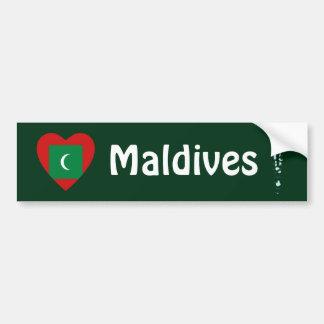 Maldives Flag Heart + Map Bumper Sticker