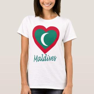 Maldives Flag Heart T-Shirt