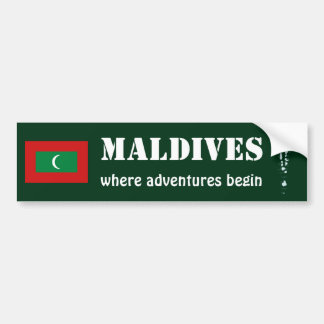Maldives Flag + Map Bumper Sticker