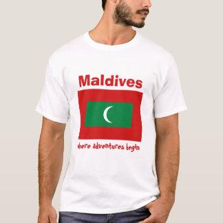 Maldives Flag + Map + Text T-Shirt