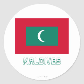 Maldives Flag with Name Classic Round Sticker