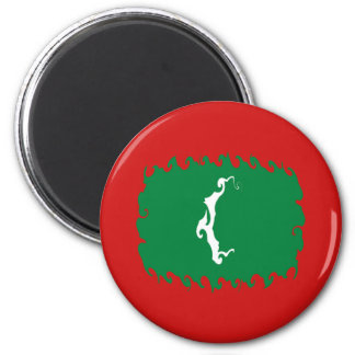 Maldives Gnarly Flag 6 Cm Round Magnet