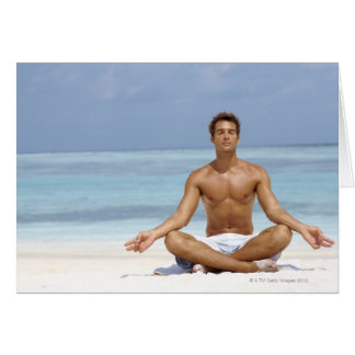 Maldives, Handsome young man meditating in a Greeting Card