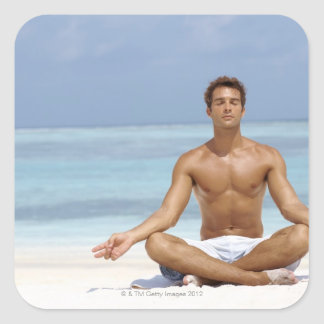 Maldives, Handsome young man meditating in a Square Sticker