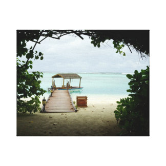 Maldives Island Boat Gallery Wrapped Canvas