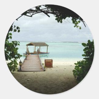 Maldives Island Boat Classic Round Sticker