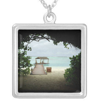 Maldives Island Boat Silver Plated Necklace