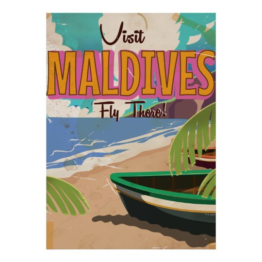 Maldives island vintage travel poster art.
