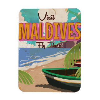 Maldives island vintage travel poster art. rectangular photo magnet