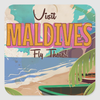 Maldives island vintage travel poster art. square sticker