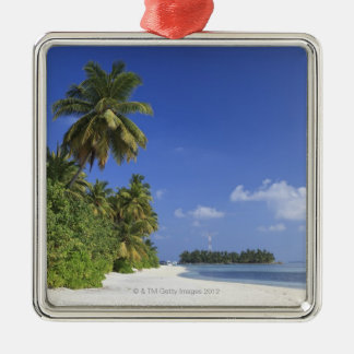 Maldives, Meemu Atoll, Medhufushi Island Silver-Colored Square Decoration