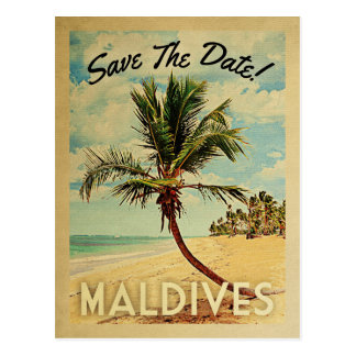 Maldives Save The Date Vintage Beach Palm Tree Postcard