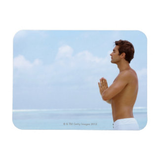 Maldives, Smart young guy practicing yoga at Rectangular Photo Magnet