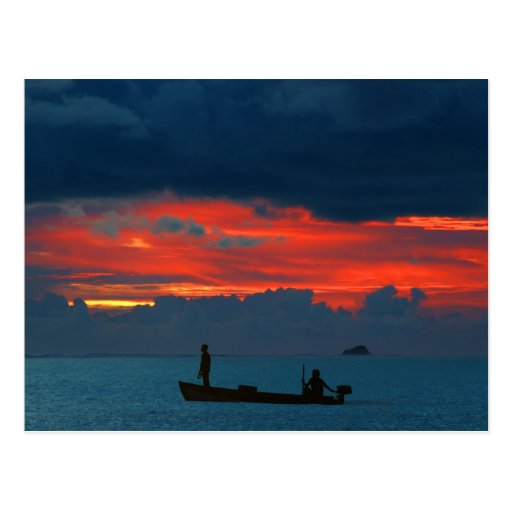 Maldives Sun Island Gorgeous Sunset And Boat Postcard