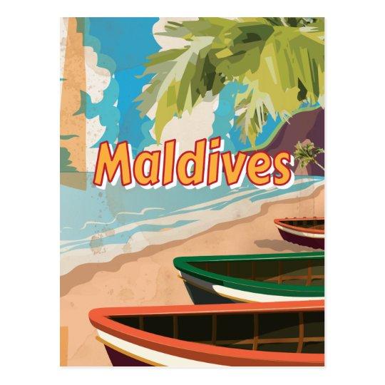 Maldives Vintage travel poster Postcard
