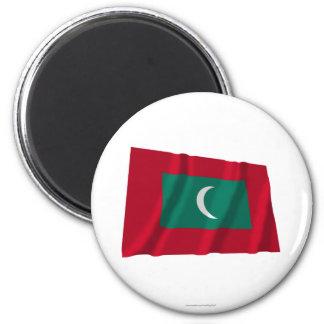 Maldives Waving Flag 6 Cm Round Magnet