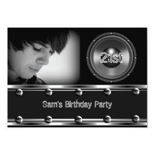 Male 21st birthday invitations announcements zazzle male 21st birthday party black metal look image invitation filmwisefo