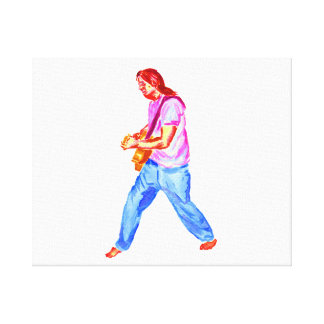 Male acoustic guitar player pink shirt  jeans gallery wrapped canvas