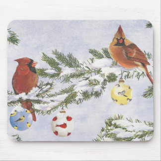 Male and Female Cardinals enjoy a winter sccene. Mouse Mat