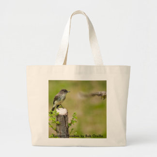Male and Female  Eastern Phoebes Large Tote Bag