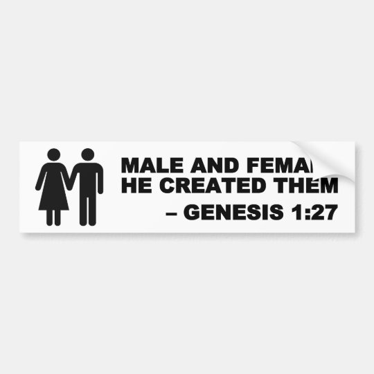 Male and Female Gen. 1:27 Bumper Sticker -