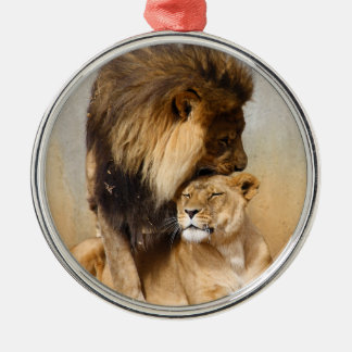 Male and Female Lion in Love Christmas Ornament
