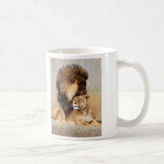 Male and Female Lion in Love Coffee Mug