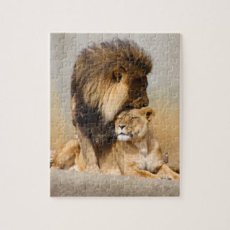 Male and Female Lion in Love Jigsaw Puzzle
