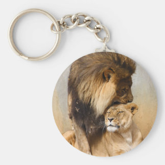 Male and Female Lion in Love Key Ring