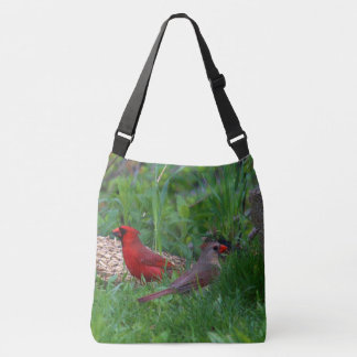 Male and Female Northern Cardinal Crossbody Bag