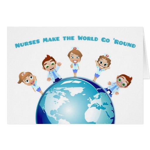 Male and Female Nurses, World, Nurses Day Greeting Cards