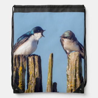 Male and female Tree Swallow Drawstring Bag