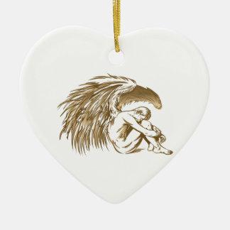 MALE ANGEL CERAMIC HEART DECORATION
