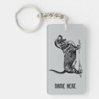 Male Basset Hound in Black Personalised Keychain