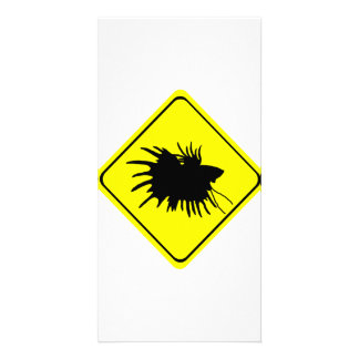 Male Betta Fish Silhouette Caution Crossing Sign Customized Photo Card