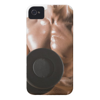 Male body builder flexing lifting weight Case-Mate iPhone 4 case