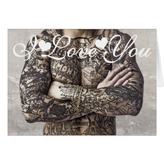 Male Body Tattoo Photo Image I Love You Greeting Card