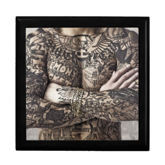 Male Body Tattoo Photograph Large Square Gift Box