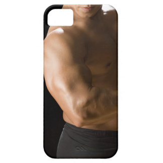 Male bodybuilder flexing muscles, front view, 2 iPhone 5 cases