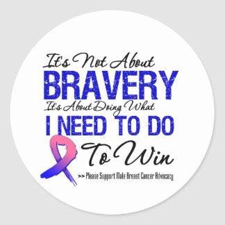 Male Breast Cancer Battle Round Stickers