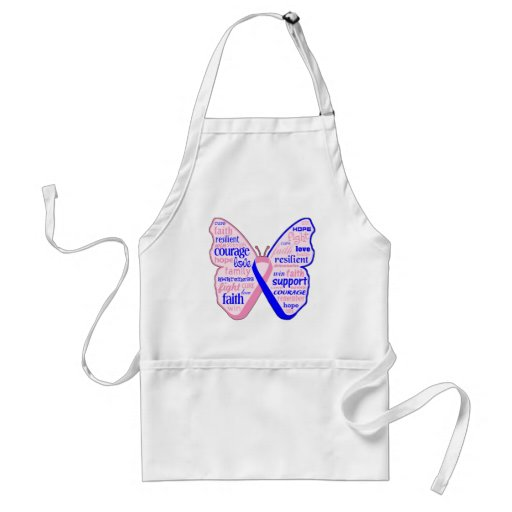 Male Breast Cancer Butterfly Collage of Words Aprons