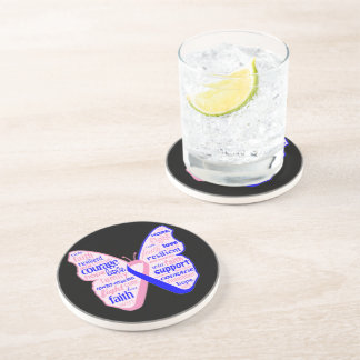 Male Breast Cancer Butterfly Collage of Words Beverage Coaster