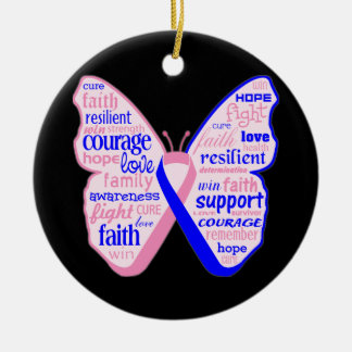 Male Breast Cancer Butterfly Collage of Words Christmas Tree Ornament