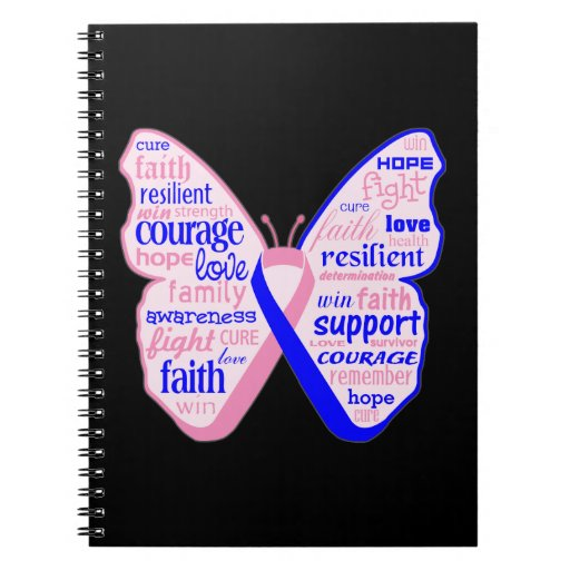 Male Breast Cancer Butterfly Collage of Words Spiral Note Book