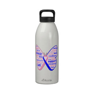 Male Breast Cancer Butterfly Collage of Words Drinking Bottles