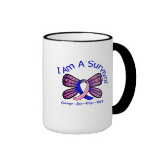 Male Breast Cancer Butterfly I Am A Survivor Mugs
