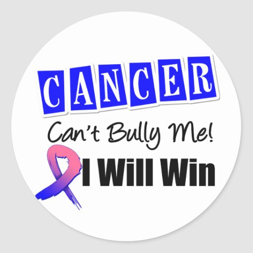 Male Breast Cancer Cant Bully Me I Will Win Round Stickers