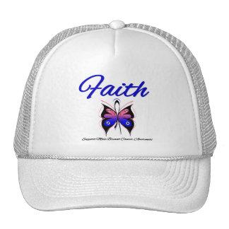Male Breast Cancer Faith Butterfly Ribbon Trucker Hats