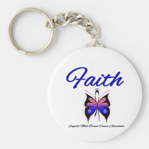 Male Breast Cancer Faith Butterfly Ribbon Keychains