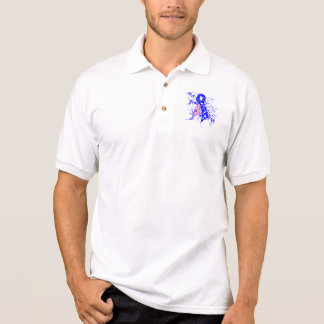 Male Breast Cancer Floral Swirls Ribbon Polo Shirt